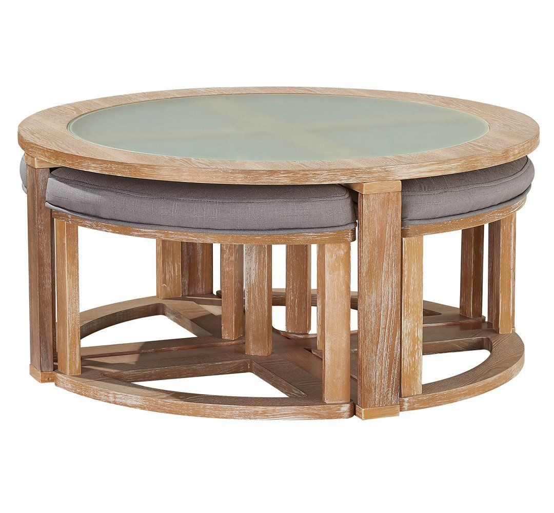 Oandk Furniture Round Coffee Table With 4 Nesting Stools Cocktail