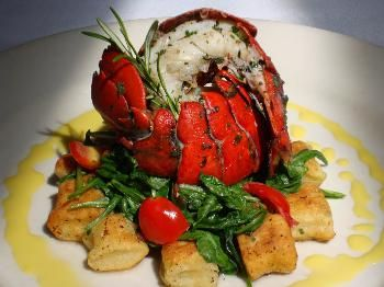 Herb Grilled Maine Lobster Tail on Arugula with Chive Ricotta Gnocchi & Corn Milk