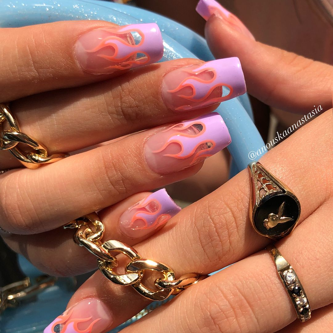 Pastel Flame Nails Love Flames And Colors On These But I Would Change The Shape Fire Nails Cute Acrylic Nails Jelly Nails