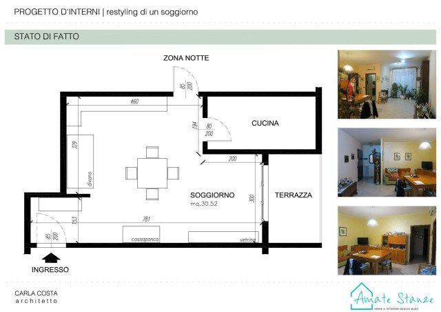 Progetto di restyling di un soggiorno moderno e retrò ...