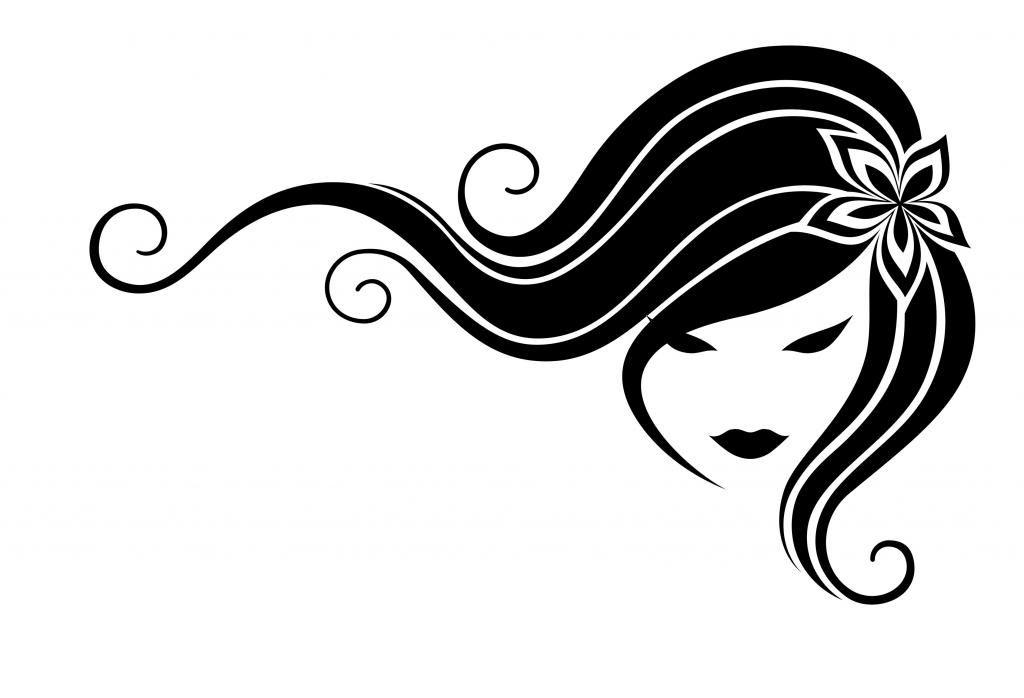 flowing hair silhouette clipart