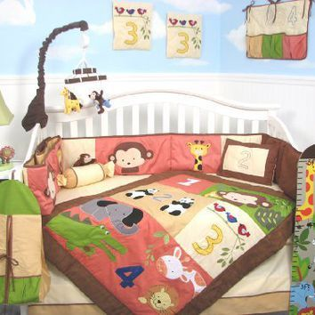Soho 1234 Jungle Friends Baby Crib Nursery Bedding Set 13 Pcs Included Diaper Bag With