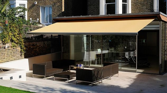 Retractable Awnings Now Come With Pitch Adjustment Feature Which Allow You To Raise Or Lower The Front Bar To Me Retractable Awning Awning Shade Patio Design