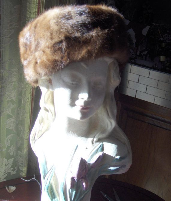 Medium toned Mink hat in desirable pillbox style by BarberryLane