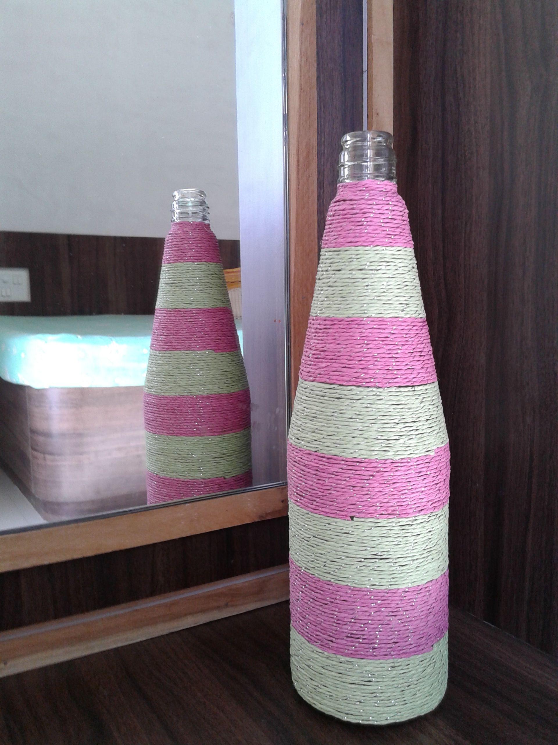 Paper Thread Glass Bottle Best Out Of Waste Decorative Vase Bottles Decoration Vases Decor Best Out Of Waste