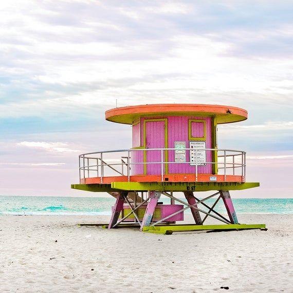 Pink Miami Beach Lifeguard Stand Beach House Wall Decor Beach Hut