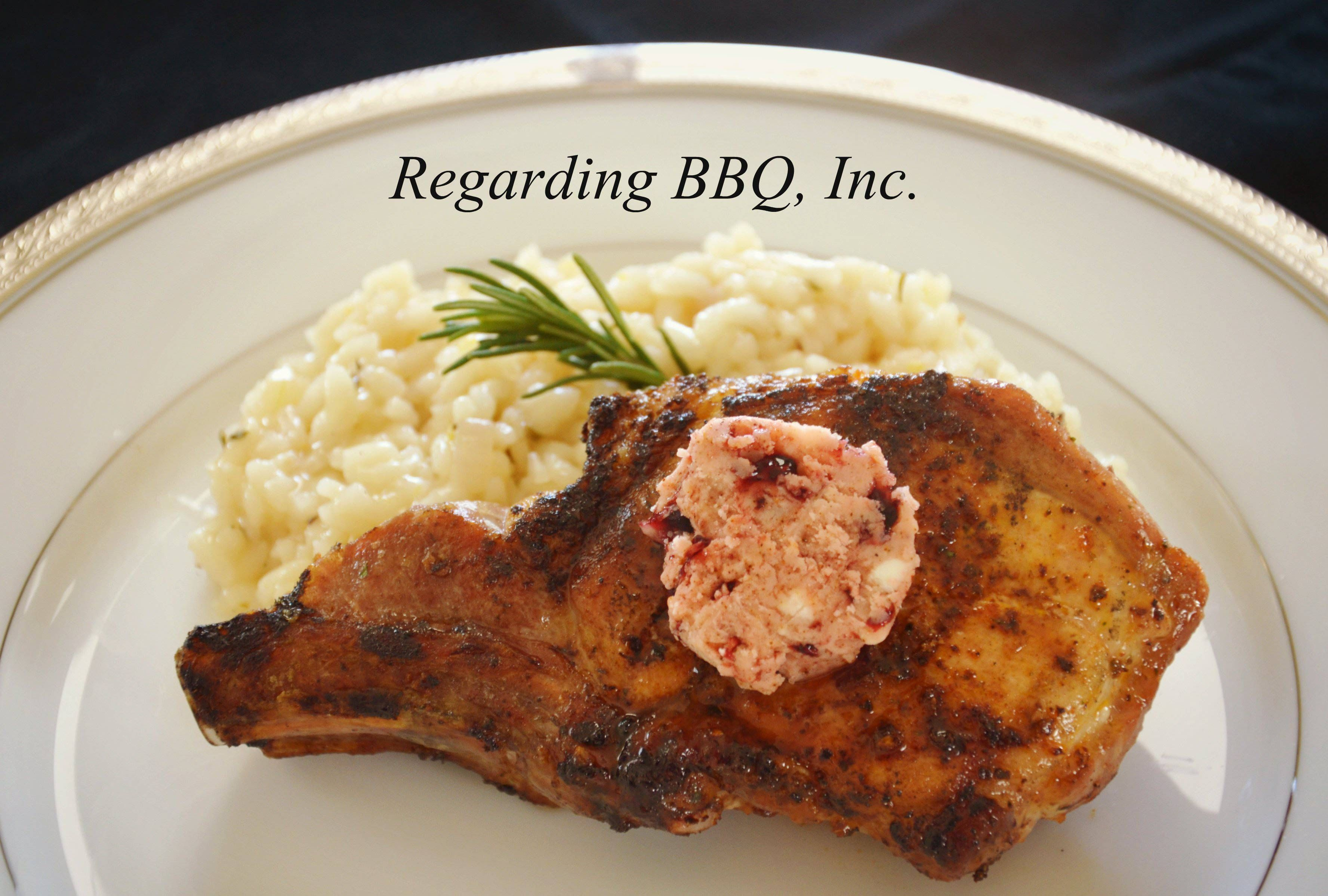 Grilled Pork Loin Chops with Blackberry Butter