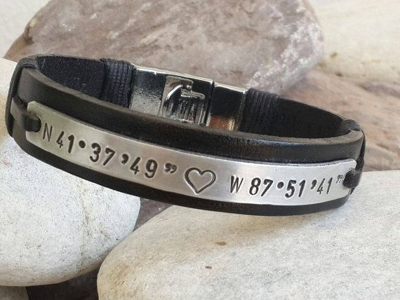 Personalized Leather Bracelet Brown Leather Bracelet Men's Leather Bracelet GPS Latitude Longitude Bracelet Coordinate Bracelet Silver Plate