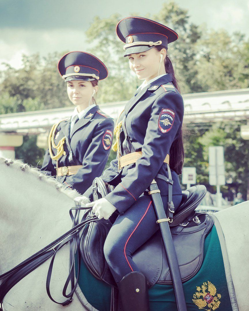 Russian girl police outfit congratulate