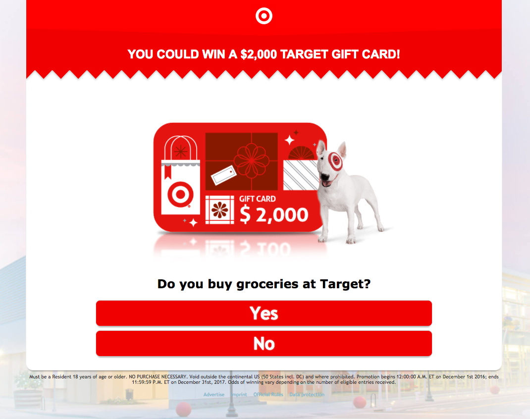 Your chance to enter an online sweepstake to win a $2,000 Target ...