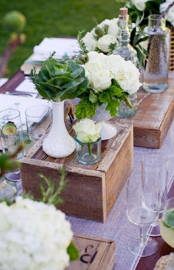 100 Wooden Box Wedding Décor Centerpieces Elegant flowers