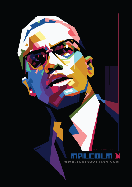 Malcolm X The American Human Right Activist In Colorful Wpap Pop Art Vector Design By Toni Agustian 2019 09 08 Malcolm X Pop Art Wpap