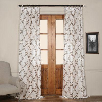 Laurel Foundry Modern Farmhouse Chantelle Printed Geometric Sheer Rod Pocket Single Curtain Panel Panel Curtains Sheer Curtain Panels Dining Room Drapes