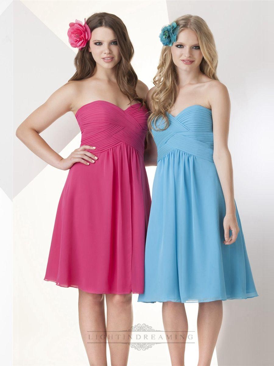 Hot Pink Sweetheart Shirred Bust Short Bridesmaid Dresses | Wedding ...