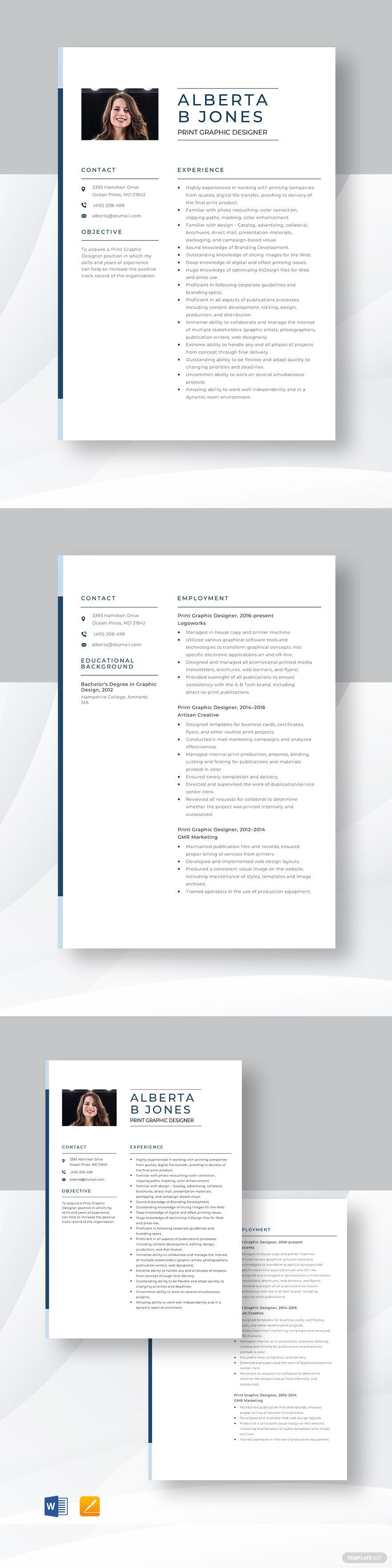 Print Graphic Designer Resume Template in 2020 Graphic