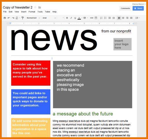 Google Docs Newsletter Template  HttpWwwValeryNovoselskyOrg