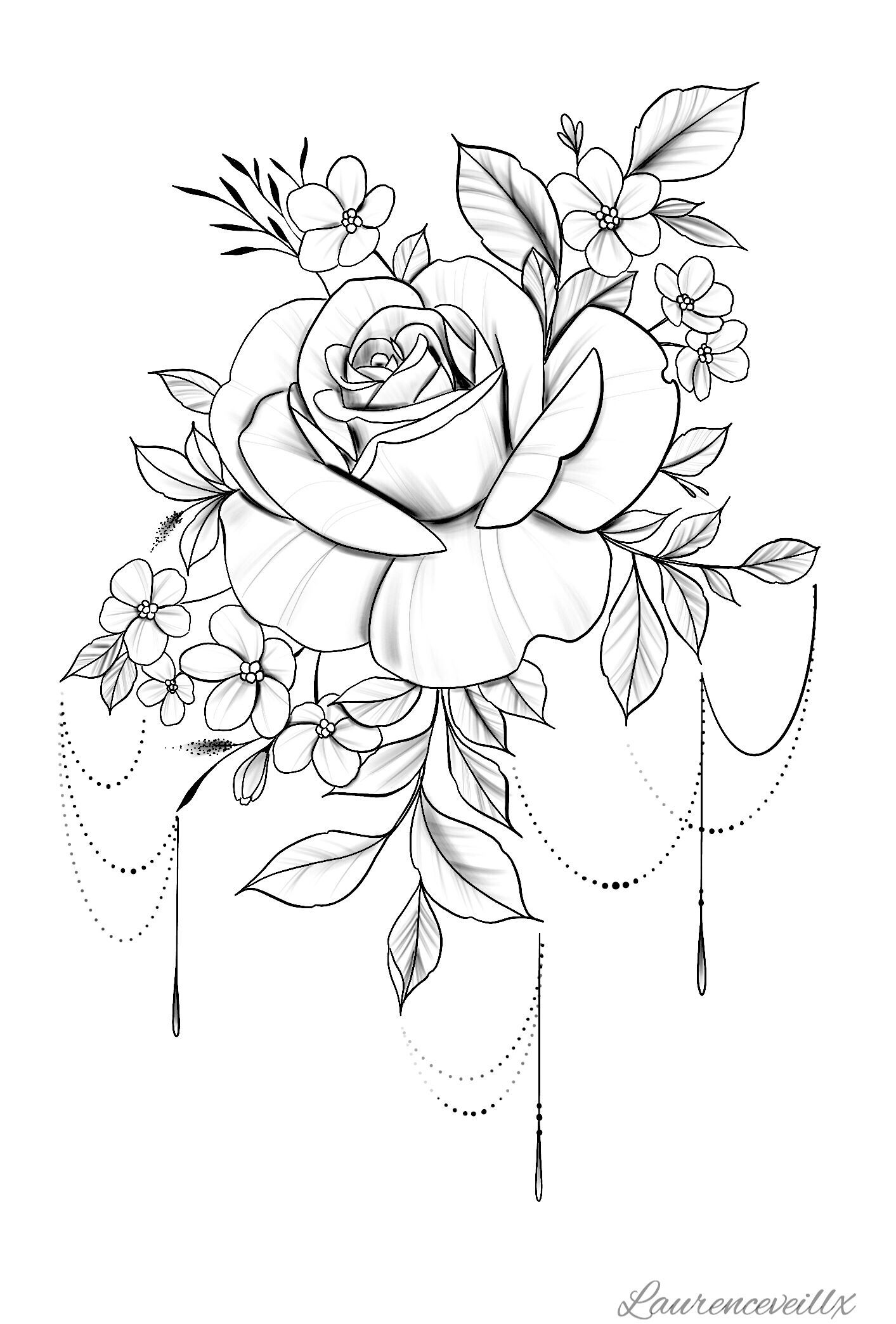 Tattoo Rose Flower Tattoo Design Available Instant Download Etsy