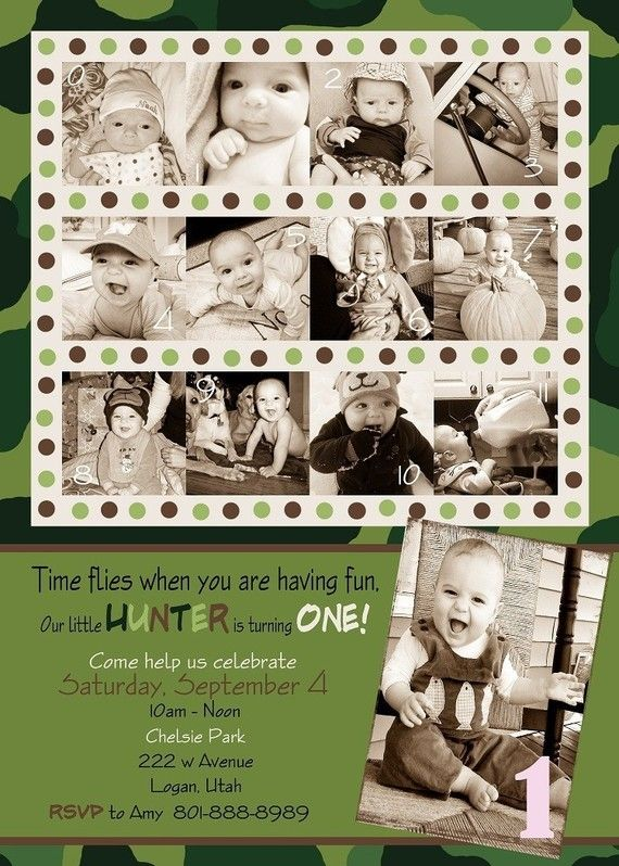 Custom Photo Card Collage Baby First Birthday by ...