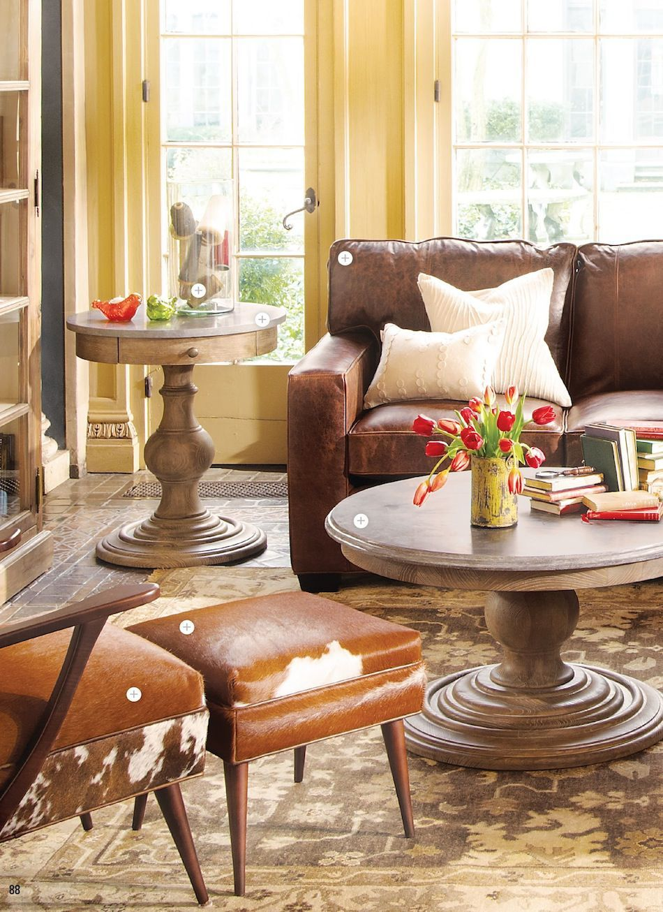 Arhaus Catalog Yellow Walls With Leather And Neutral Rug