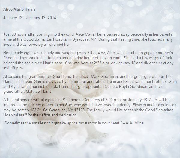 Newborn Baby Obituary Template  Atlas Orion