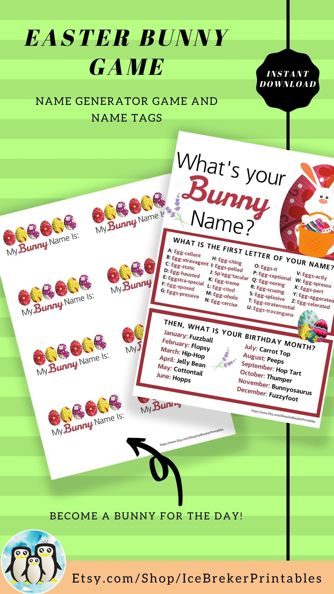 Easter Bunny Name Game that will keep you hopping for an