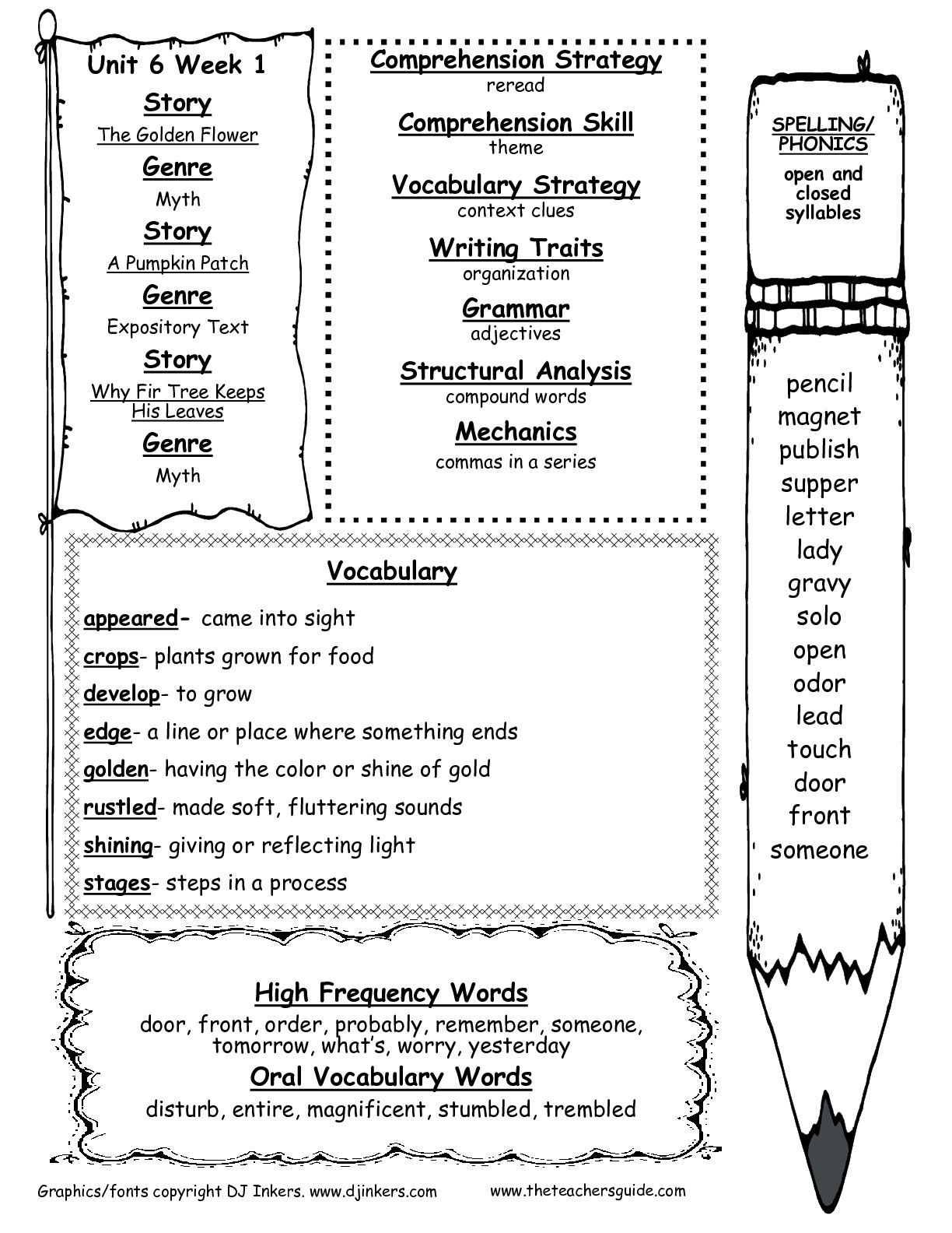 Second Grade Wonders Unit Six Week One Printouts Weekly Outline