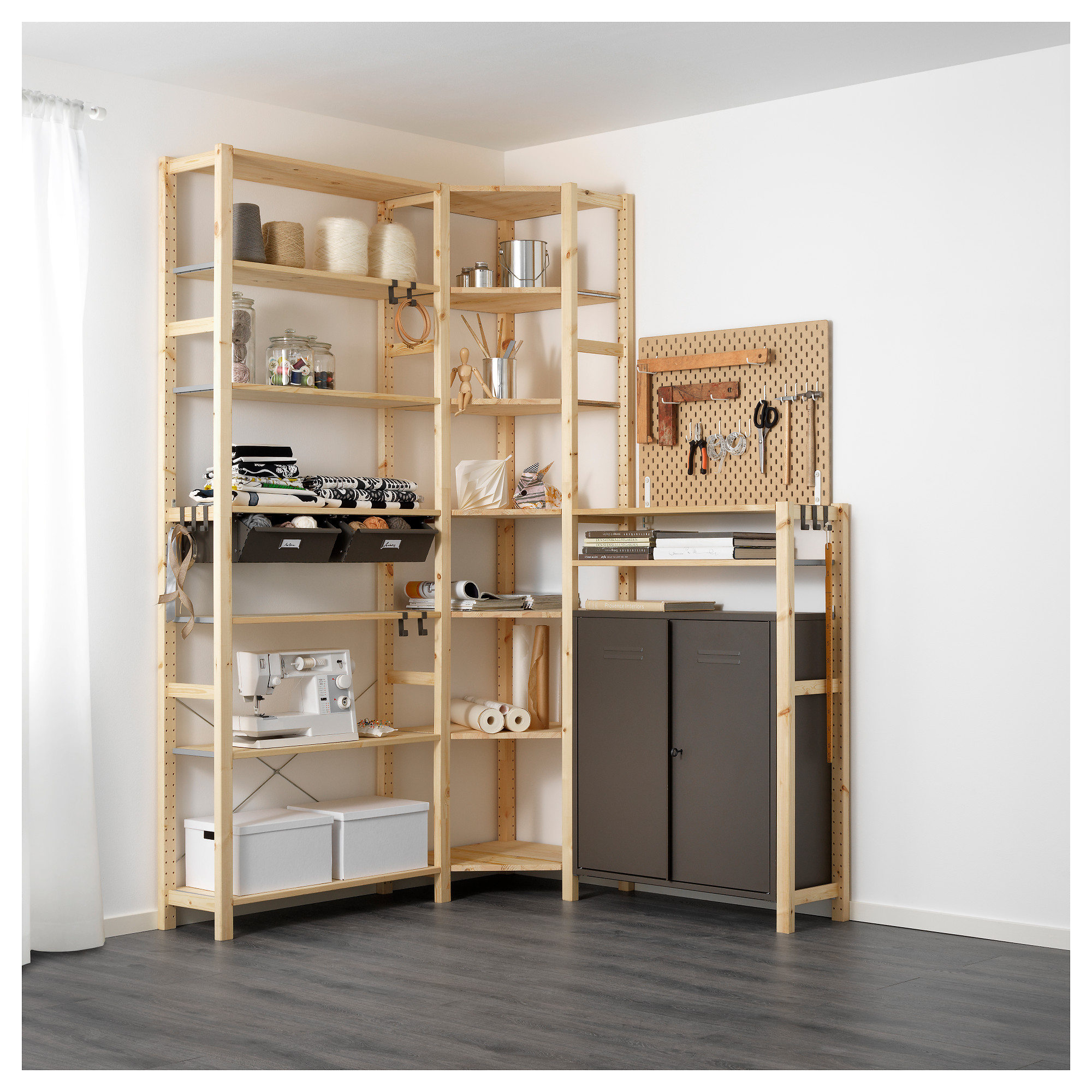 ivar 3 section shelving unit w cabinets in 2019 home. Black Bedroom Furniture Sets. Home Design Ideas