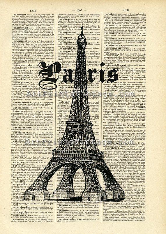Paris Print on Vintage Dictionary Page | EIFFEL TOWER/ PARIS ...