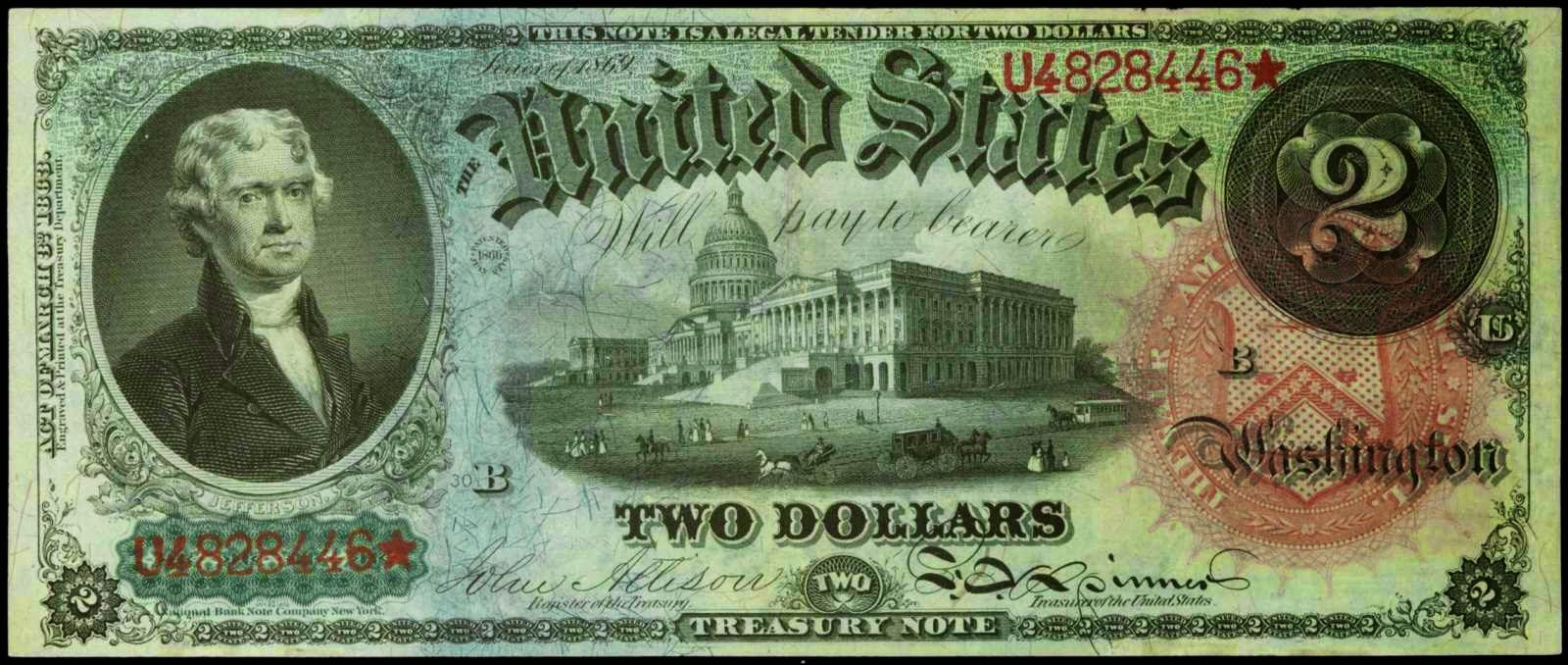 United states notes 1869 two dollar legal tender note bust of united states notes 1869 two dollar legal tender note bust of thomas jefferson third 1betcityfo Choice Image