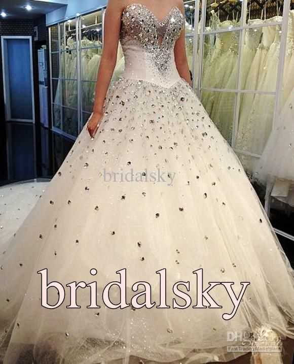 Ivory Rhinestone ACTUAL IMAGES Sweetheart A-Line Chapel Train ...