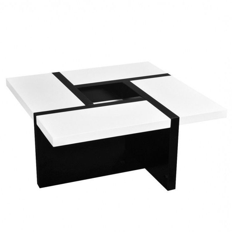 Square Coffee Table Black With White Glossy Modern Living Room Cocktail Table White Modern Shop Coffee Table Cocktail Tables Living Room Retro Coffee Tables