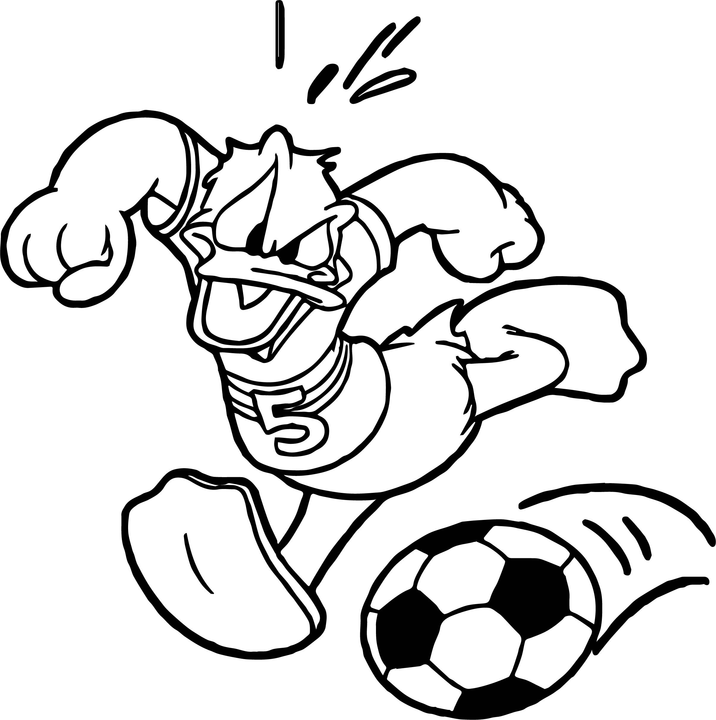 Awesome Donald Soccer Playing Football Coloring Page Football