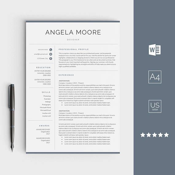 Resume Template For Word Instant Download Cv Template  Resume