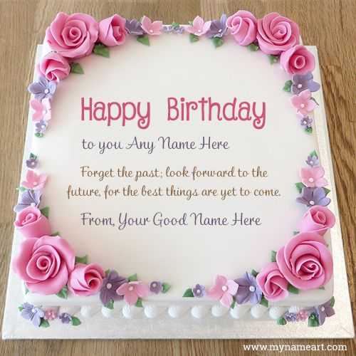 Deepak Birthday Cake Image Download : rose floral frame decorated birthday party cake image with ...