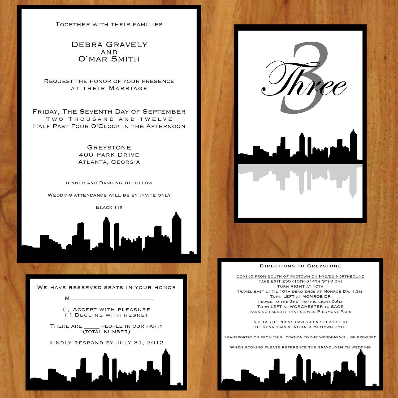 Printable Custom Wedding Invitations Atlanta Skyline 2500 via
