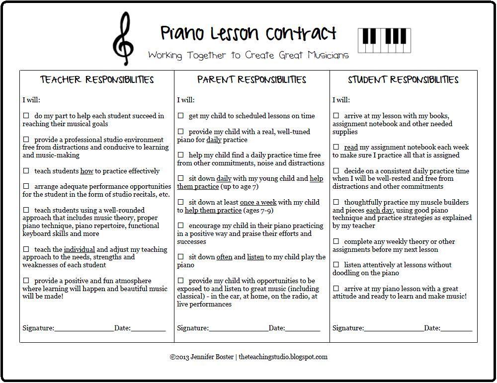 The Teaching Studio Free Printable Piano Lesson Contract Piano