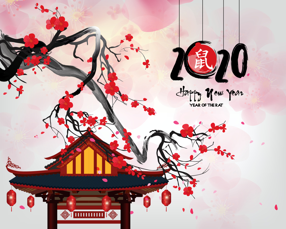 Background Of Korean New Year S Day With Mice And A Lucky Bag Korean New Year Chinese New Year Greeting New Year Greeting Cards
