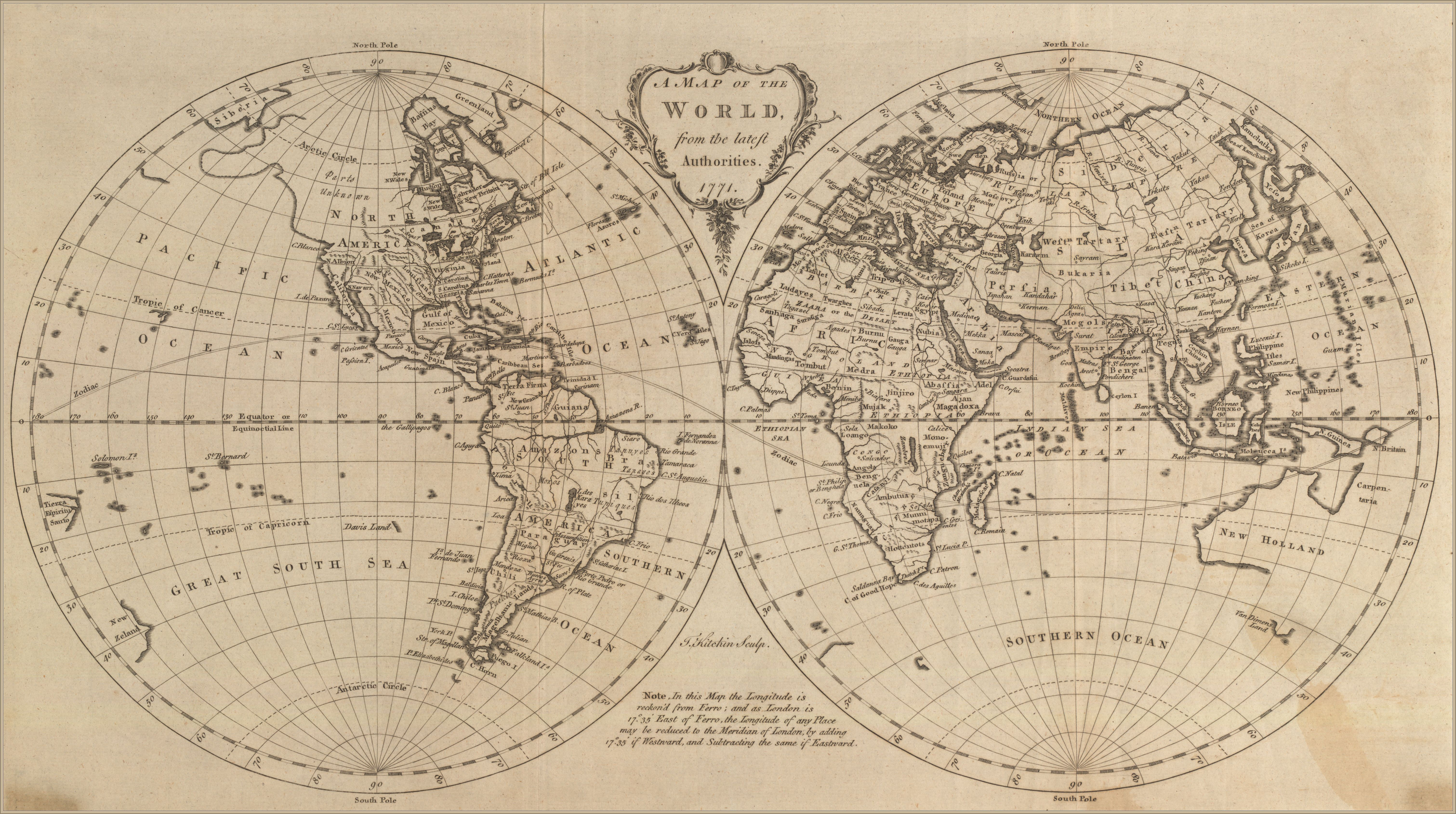 Map Of The World 1771 Pastel Map Poster Prints Map