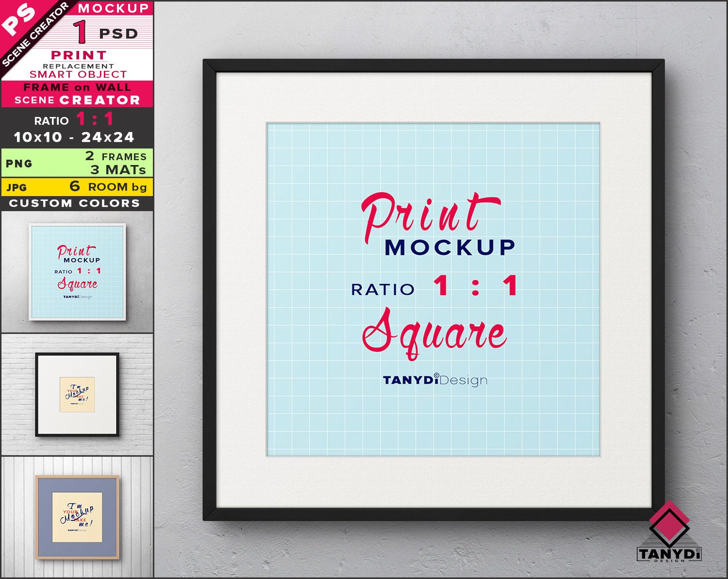 Square Frame On Wall Photoshop Print Mockup Png Metal Frame Etsy Square Frames Frames On Wall Print Mockup