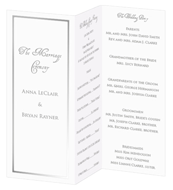 trifold foil program white silver lci paper my wedding ideas