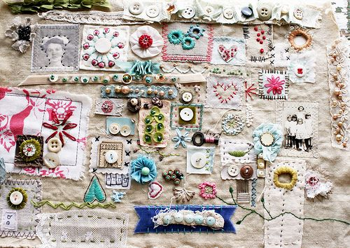 Stitch sampler by Rebecca Sower, via Flickr