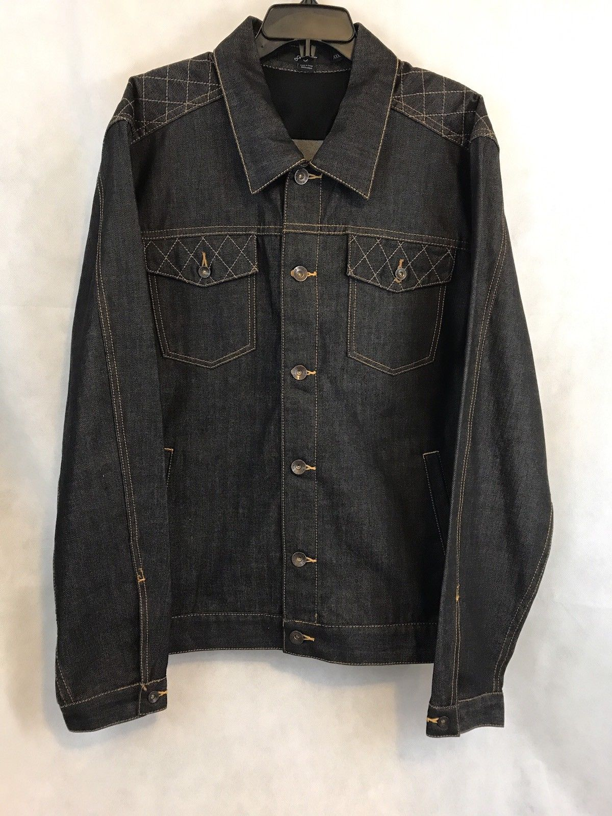 Sean john dark denim jean jacket button front size xxxl pinterest