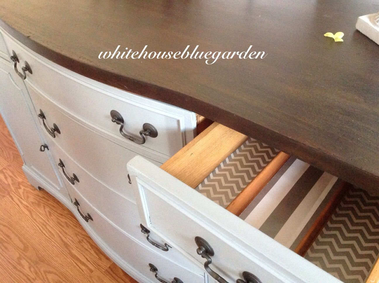 Kona top and Pencil Sketch chlak paint. Chevron & striped papered drawers.