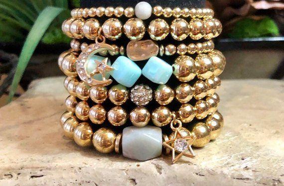 Gold Bead Stackable Bracelet Set Charms Moon