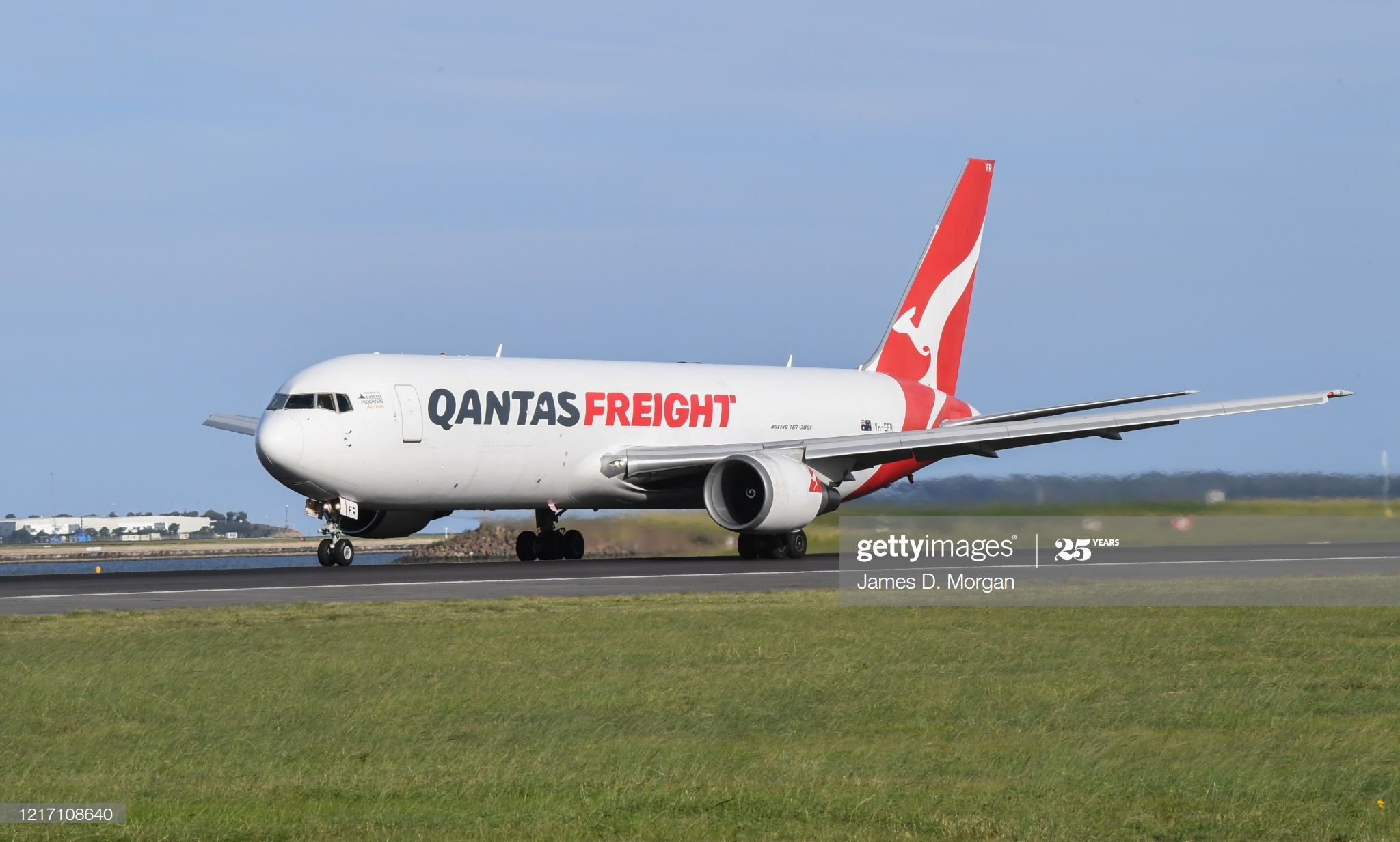 A Qantas Boeing 767300F aircraft, in decals detailing