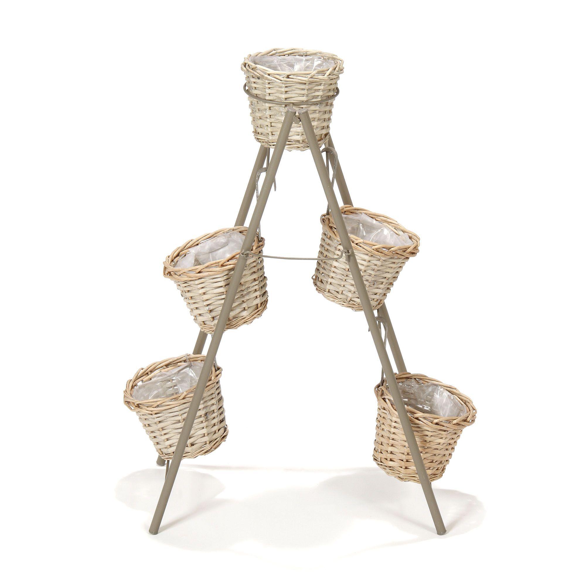 Support Style Escabeau Pour Plantes Et 5 Cache Pots Gris Inca
