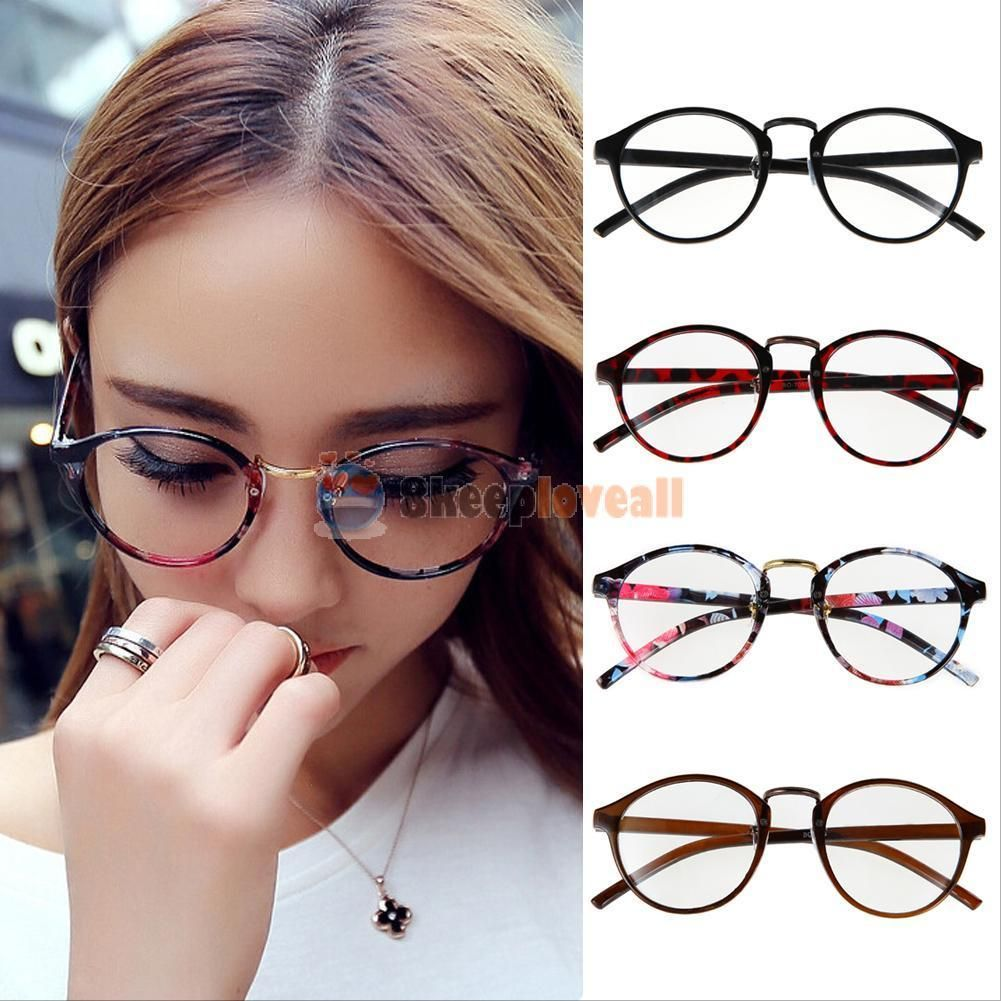 Vintage Round Clear Lens Frame Eyeglasses For Unisex Solid Pattern Eye Accessory