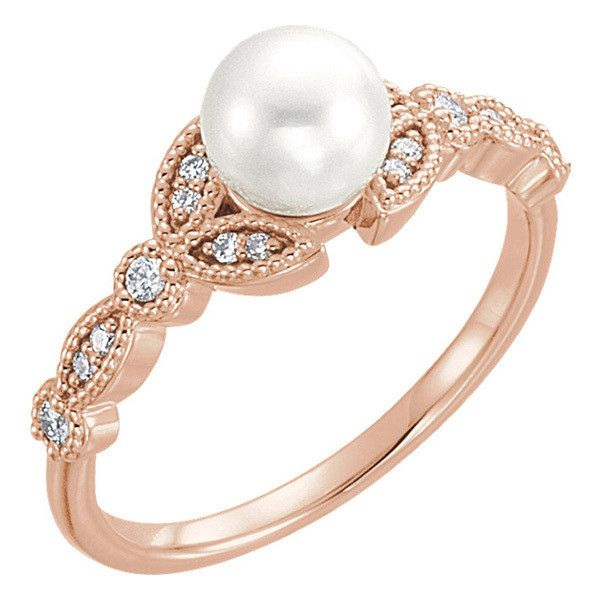 14K Rose Gold Cultured Freshwater Pearl Diamond Leaf Ring 599