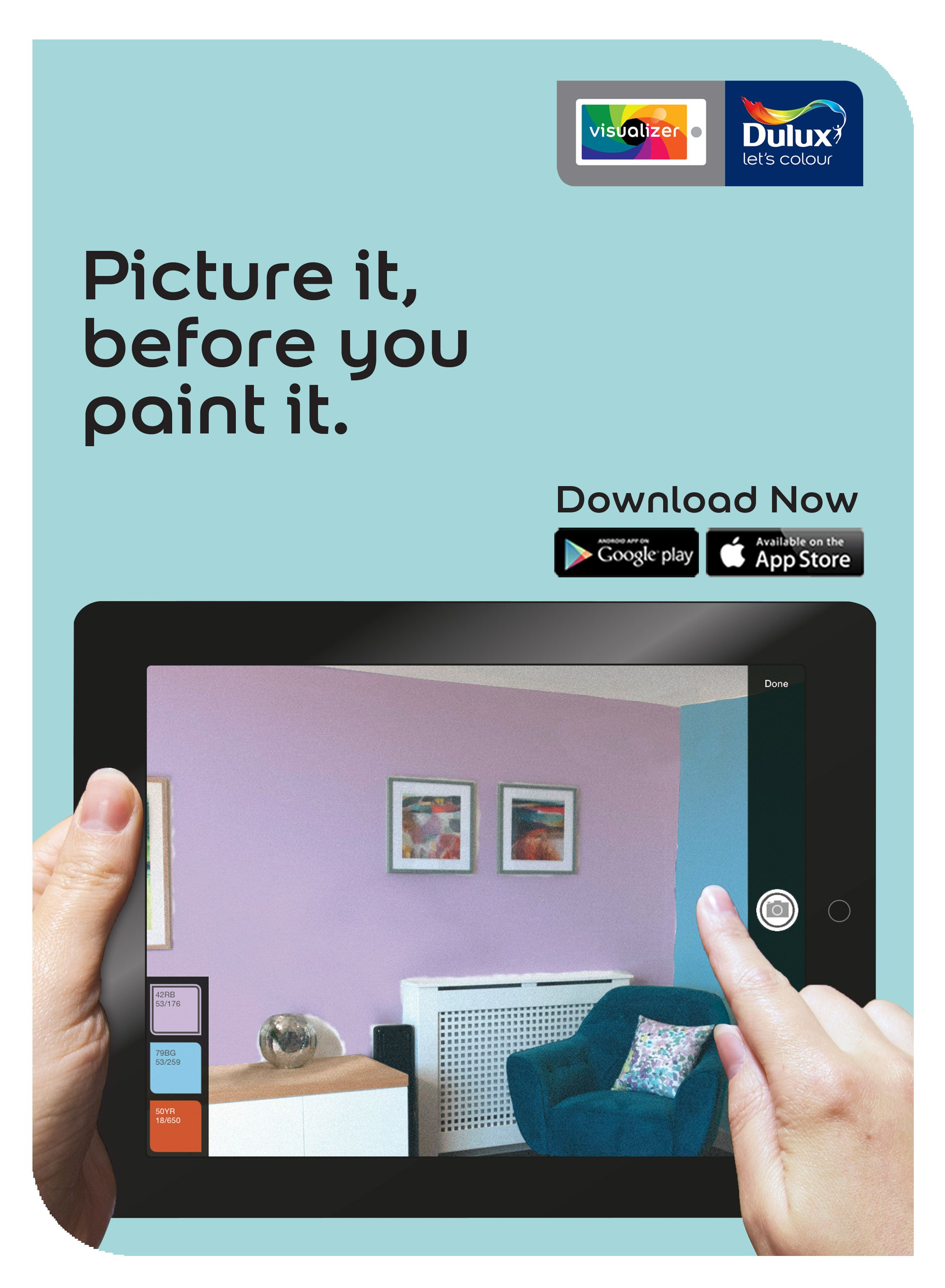Did You Know That The Visualizer App Allows You To Visualize Your Room In Different Colours With Just A Few Taps You Ca Visualizer App Dulux Colorful Pictures