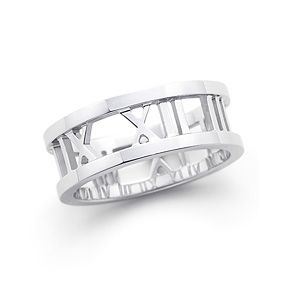 dfe39d527 Atlas® open ring in 18k white gold. Wedding band - wedding date in roman  numerals. For him. This is really cool.